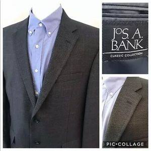 JOS A BANK Men's 44R Houndstooth Wool Blend Blazer